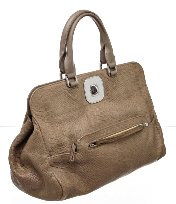 Longchamp Taupe Embossed Leather Gatsby Handbag