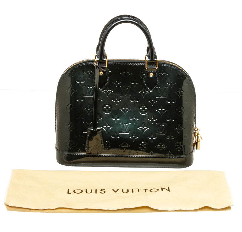 Louis Vuitton Green Vernis GM Alma Patent Leather Gold Hardware