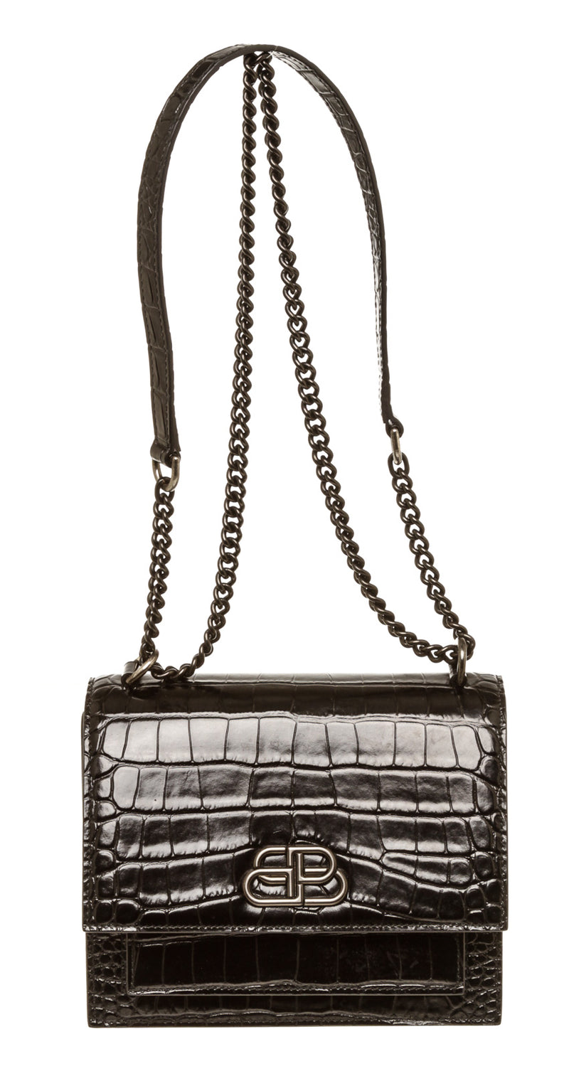 Balenciaga Black Embossed Leather Crossbody Bag
