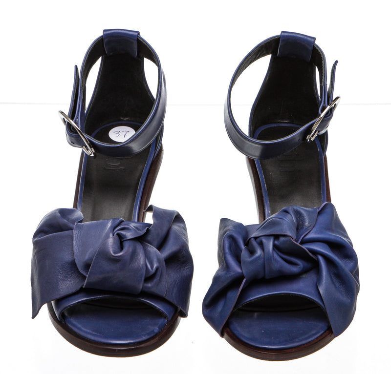 Tibi Blue Leather Ankle Strap Kitten Heel (Size 37)