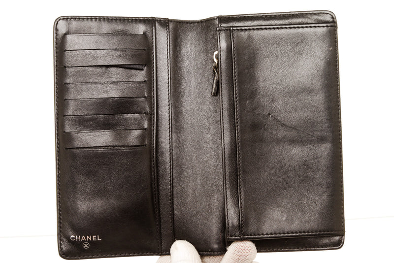 Chanel Black Patent Leather Camillia Wallet
