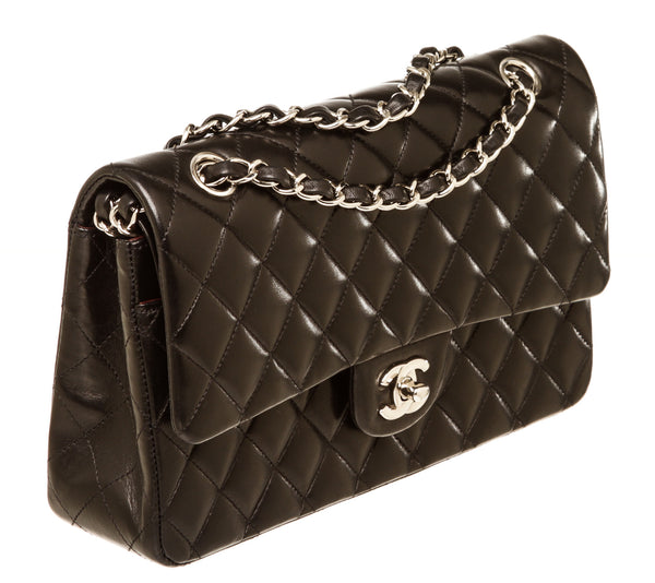 Chanel Black Medium 2.55 Lambskin Leather Flap Silver Hardware