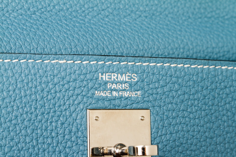 Hermes 35cm Retourne Blue Jean Kelly Clemence Leather Palladium Hardware