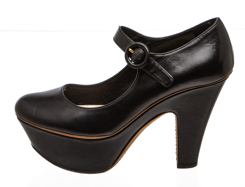 Prada Black Leather Mary Jane Platform Pumps (Size 37)