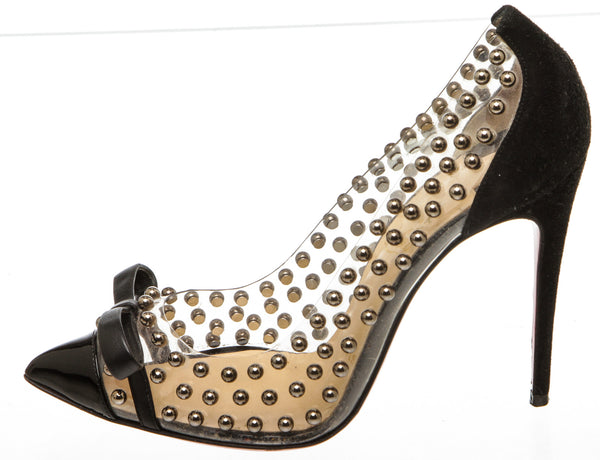 Christian Louboutin Black 'Bille Et Boule' 100 studded Pump (Size 36.5)