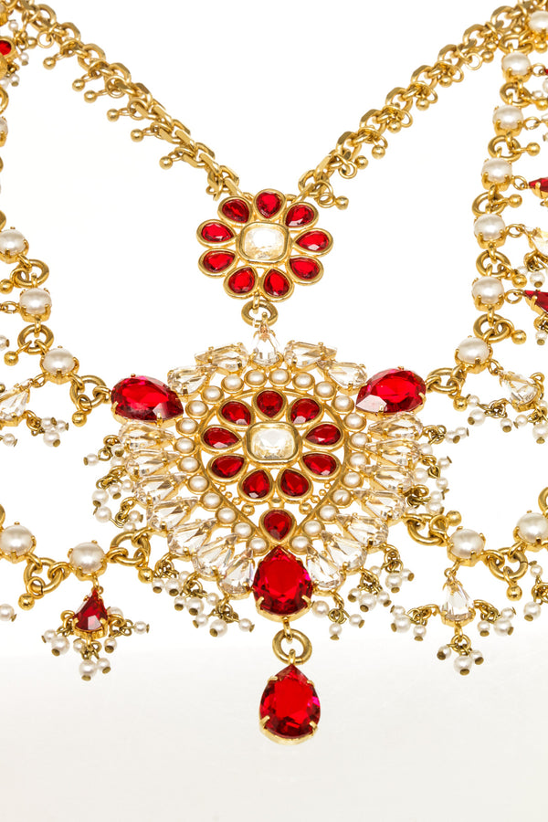 Alexander McQueen Gold Plated Red Crystal Stones with Pearl Necklace