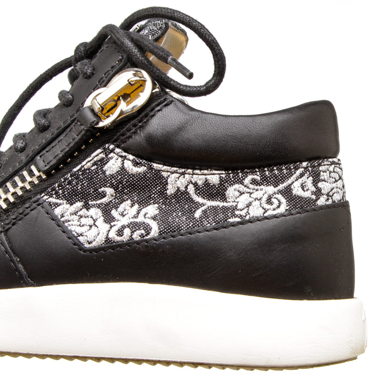 Giuseppe Zanotti Black and Silver Brocade Leather Platform RunnerSneakers (Size 35)