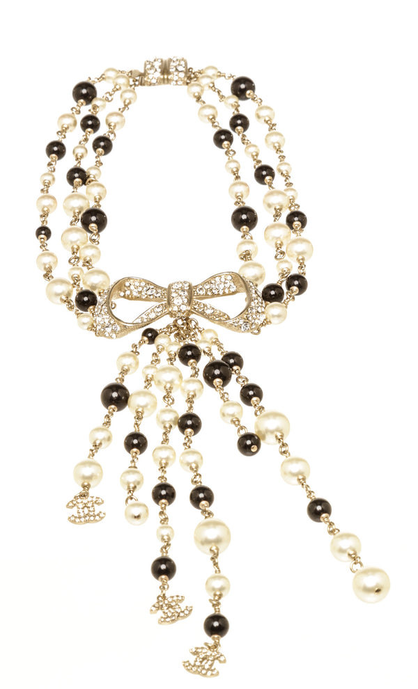 Chanel Gold Pearl Black Bow CC Choker