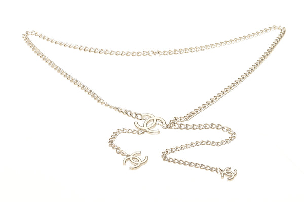 Chanel Silver Chain Belt Cream CC Logo
