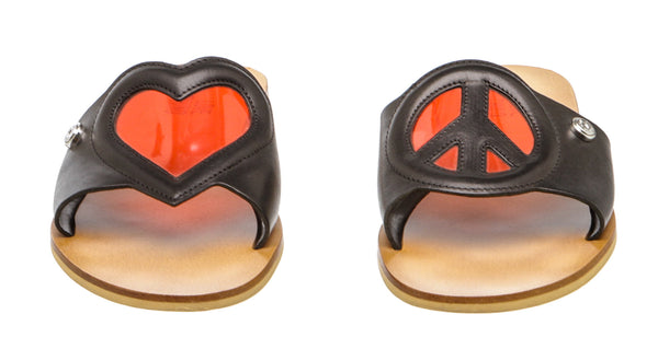 Love Moschino Black and Red Peace and Love Slip On Sandals (Size 37)