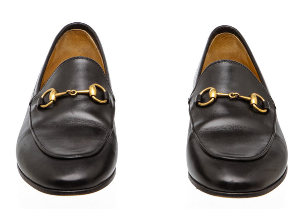 Gucci Black Leather Horsebit Loafers (Size 37.5)