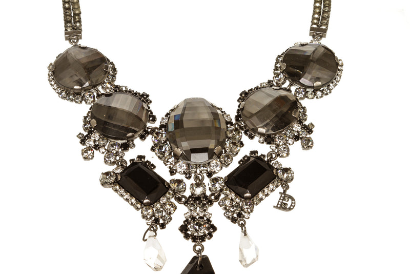 Dolce & Gabbana Silver Black Crystal Necklace