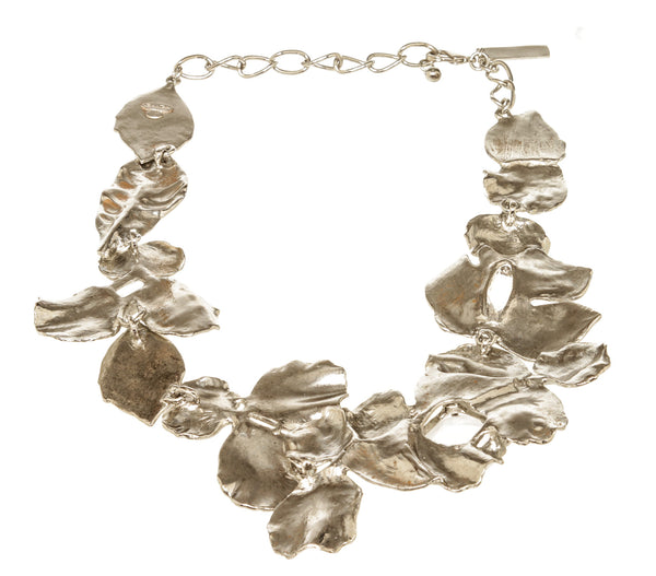 Oscar De La Renta Silver Flower Crystal Necklace