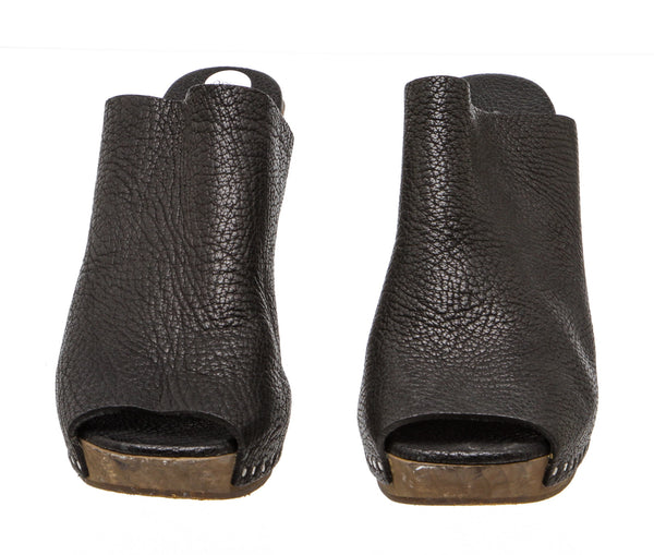 Rick Owens Black Leather and Wood Wedge Mules (Size 38)