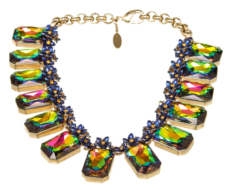Roberto Cavalli Blue Floral Iridescent Green Crystal Necklace