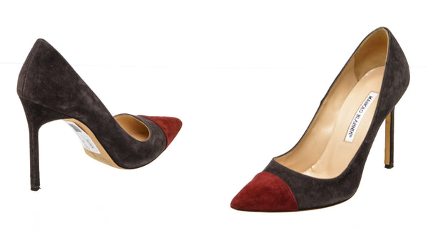 Manolo Blahnik Brown and Burgundy Two Tone Suede Bipunta Pointed Pumps (Size 38)