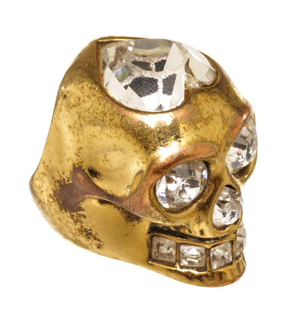 Alexander McQueen Gold Plated Skull Heart Ring
