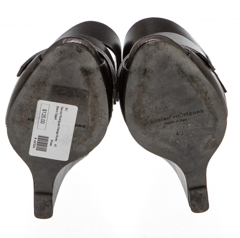 Narciso Rodriguez Black Leather Caged Wedge Mules (Size 40)
