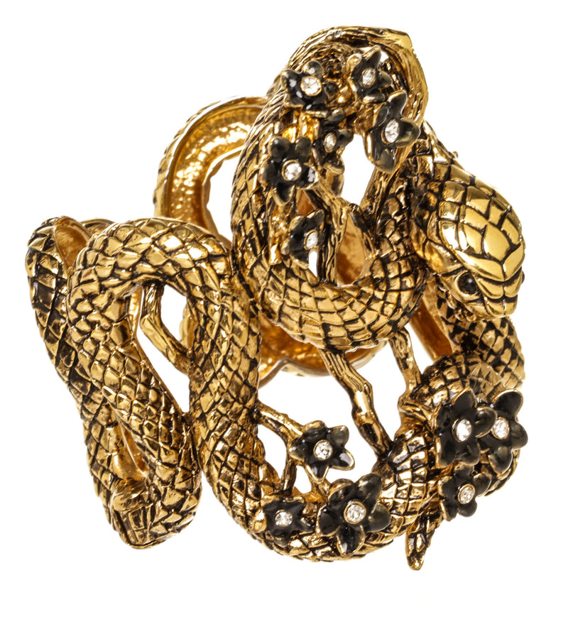 Roberto Cavalli Gold Snake with Flowers Cuff