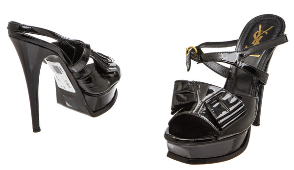 Yves Saint Laurent Black Patent Leather Bow Tribute Platform Sandals (Size 37.5)