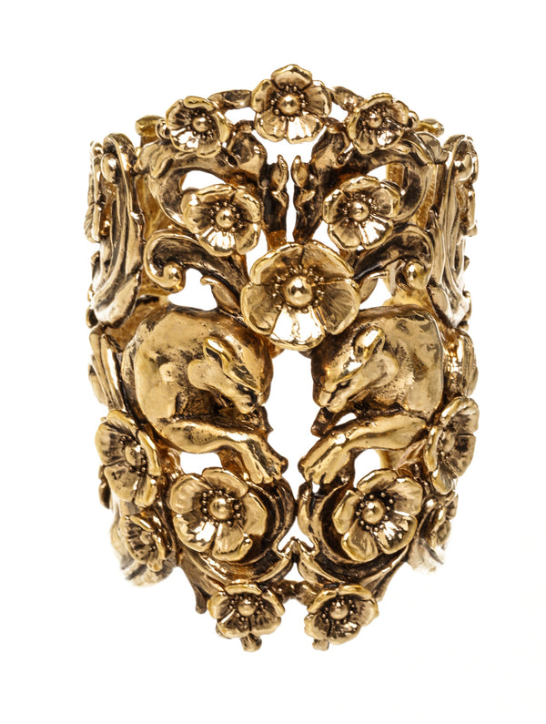 Gold Floral Cuff with Panther