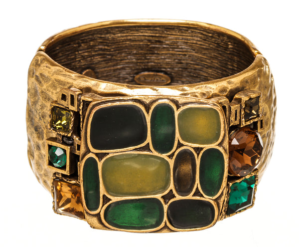 Oscar De La Renta Gold Green Gemstone Hinged Bracelet
