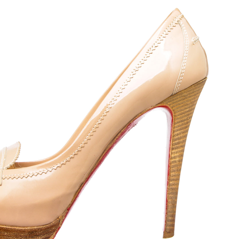 Christian Louboutin Nude Patent Leather Peniche Platform Heels (Size 39.5)