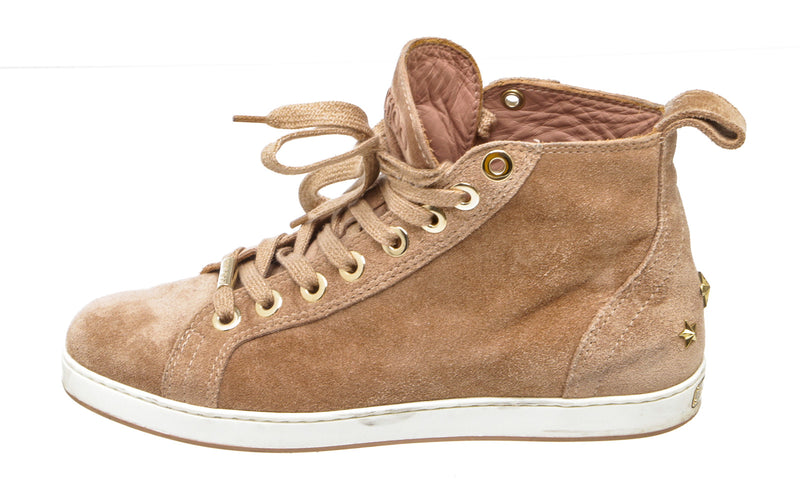 Jimmy Choo Tan Colt Velvet Suede High Top Platform Trainer (Size 36.5)