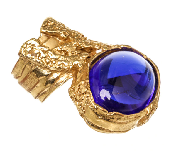 YSL Arty Blue Stone in Gold Metal Ring