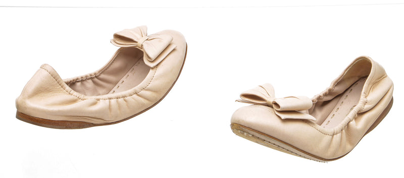 MIU MIU Nude Leather Ballerina Bow Flat (Size 37)
