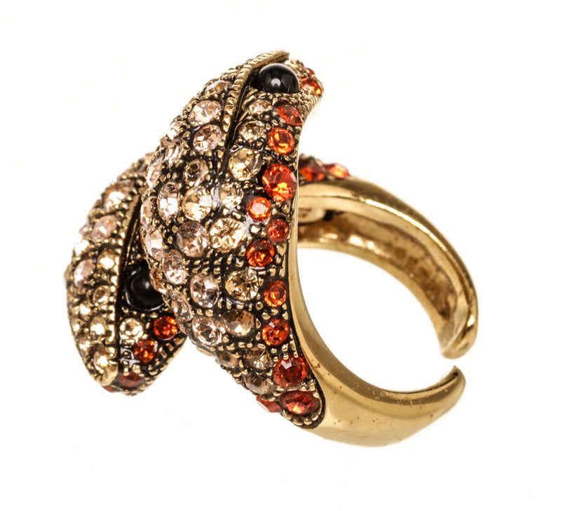 Roberto Cavalli Pink Red Crystal Snake Ring