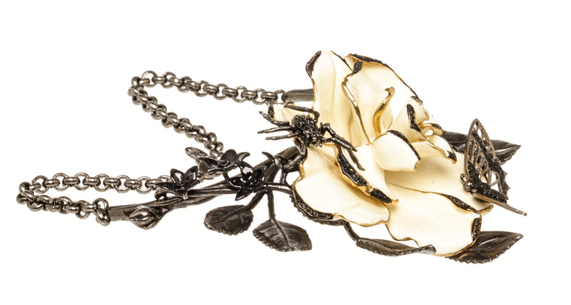 Roberto Cavalli Silver Cream Flower Butterfly Necklace