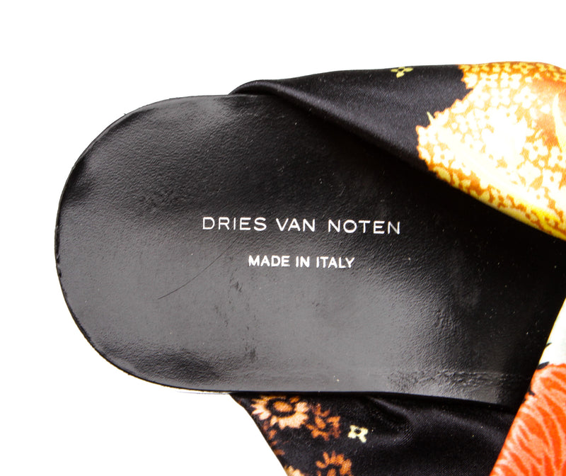 Dries Van Noten Black Floral Print Criss Cross Platform Sandals (Size 37.5)