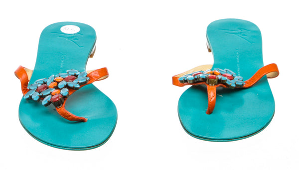 Giuseppe Zanotti Teal and Orange Jeweled Sandals (Size 37.5)