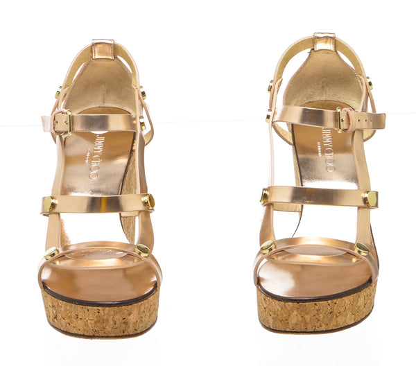 Jimmy Choo Metallic Rose Gold Nerissa 100 Platform Wedges (Size 36)