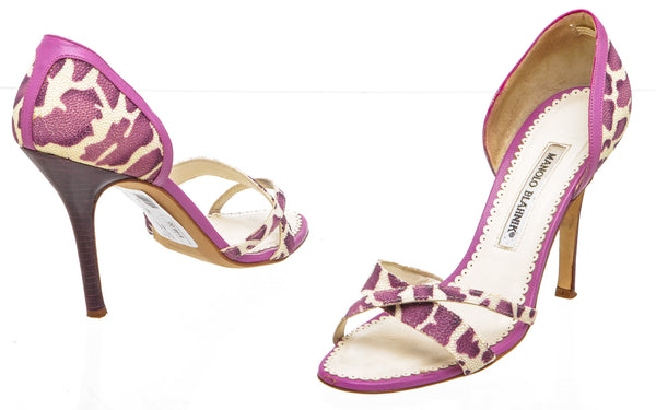Manolo Blahnik Purple and Cream Carini Stingray Sandals (Size 37.5)
