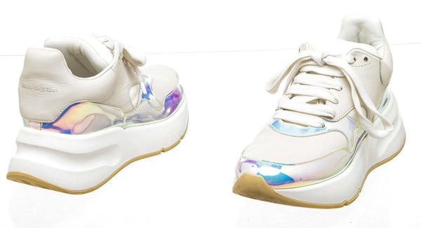 Alexander McQueen White Holographic Oversized Sneakers (Size 36.5)