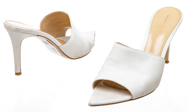 Gianvito Rossi White Alise Leather Mules (Size 38.5)