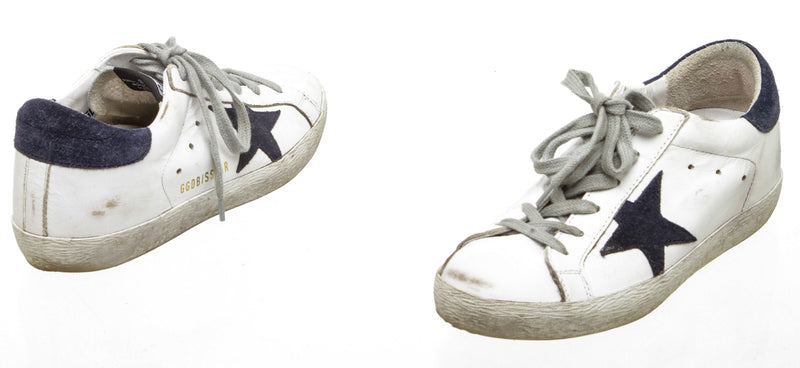 Golden Goose Blue and White Superstar Sneakers (Size 35)