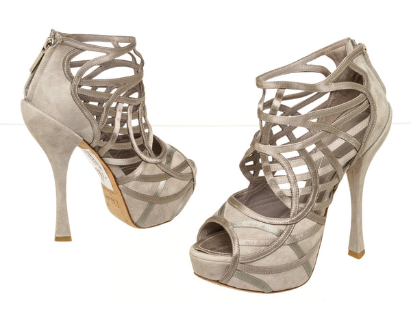 Christian Dior Gray Suede Cutout Caged Platform Sandals (Size 36.5)