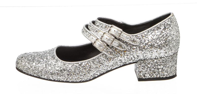 Saint Laurent Silver Babies 70 Glitter Mary Janes (Size 37.5)