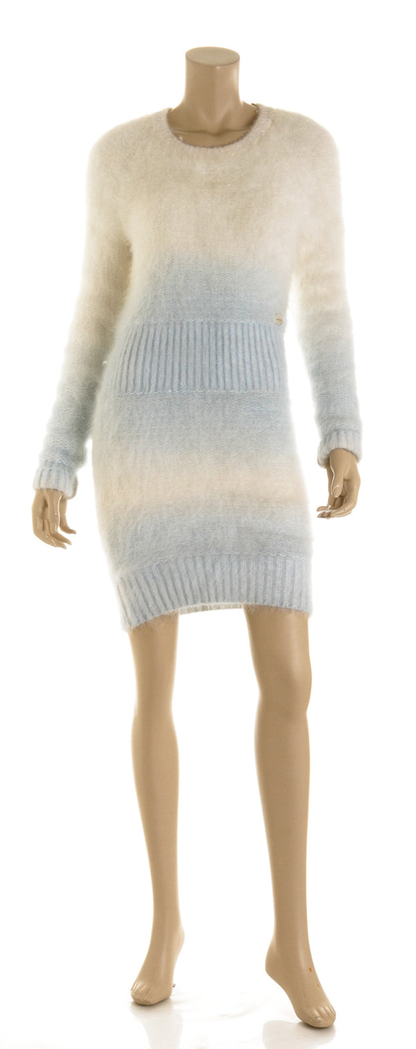 Chanel Gradient White and Baby Blue Angora Mini Dress ( Size 38)