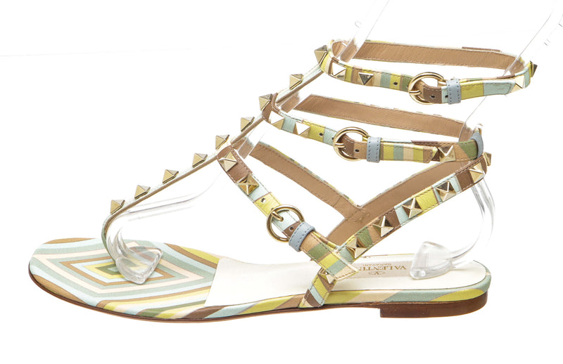 Valentino 1975 Multicolor Rockstud Native Couture Sandals (Size 36)