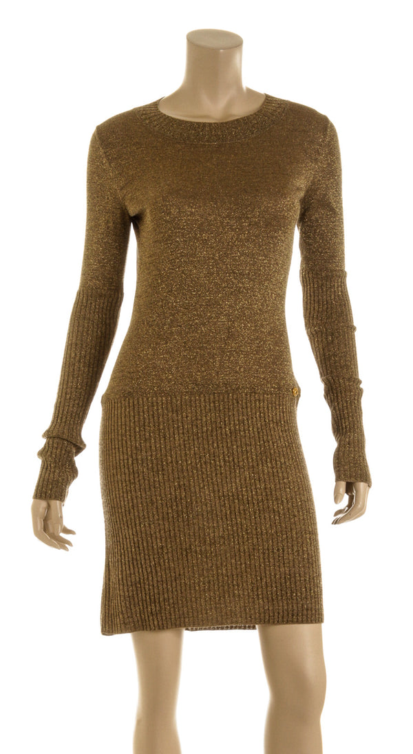Chanel Metallic Gold Rib Knit Long Sleeve Sweater Dress ( Size 36)