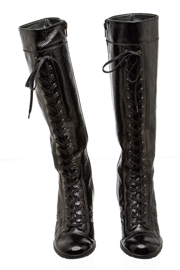 Stuart Weitzman Black Patent Leather Lace Up Boots (Size 7)