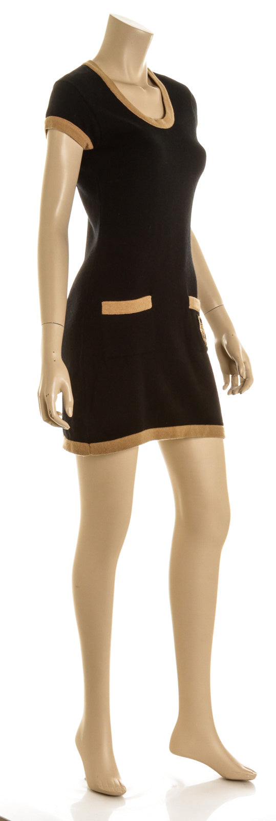 Chanel Coco Camellia Crest Black & Tan Cashmere Sweater Mini Dress (Size 38)