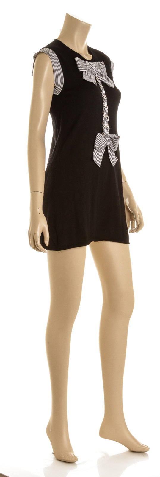 Chanel Black Cashmere Silk Bow And Chain Sweater Mini Dress ( Size 40)