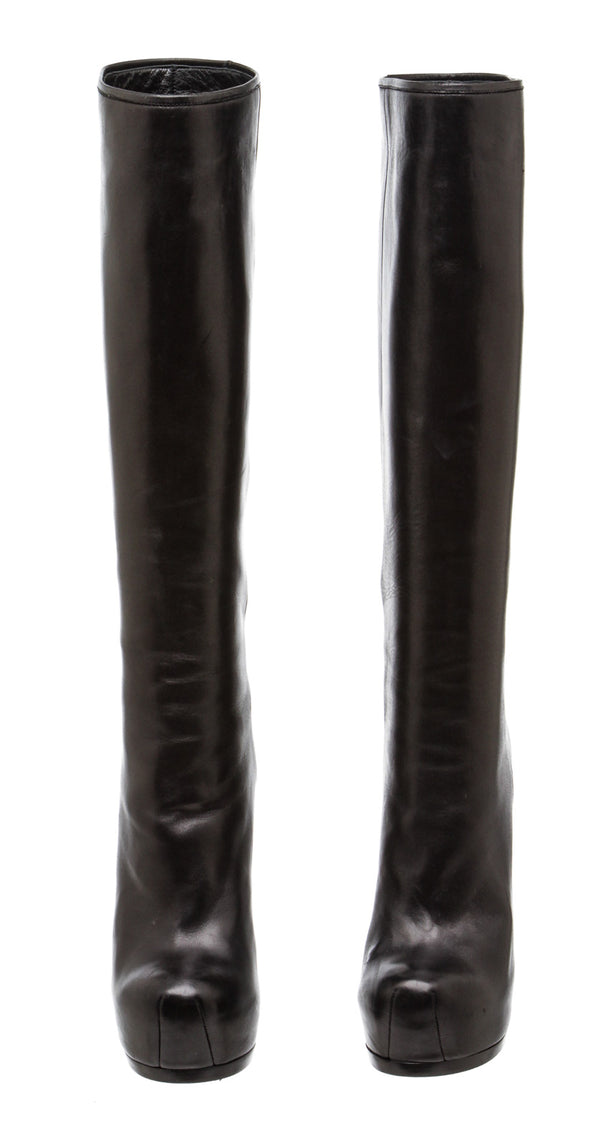 Yves Saint Laurent Black Tribtoo 105 Platform Leather Boots (Size 36.5)