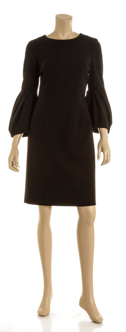 Carolina Herrera Black Blouson-Sleeve Cocktail Sheath Dress( Size 8)