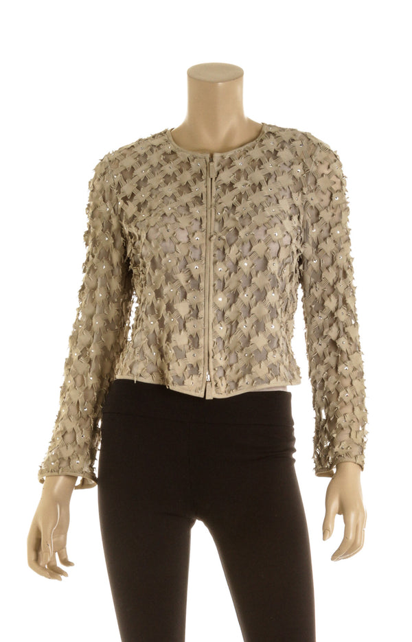 Giorgio Armani Taupe Leather Sheer Jacket ( Size 40)